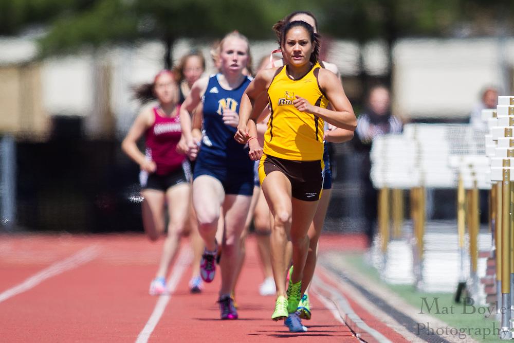 Rowan University's Vanessa Wright competes in the women's 1500 meter at the NJAC Track and Field Championships at Richard Wacker Stadium on the campus of  Rowan University  in Glassboro, NJ on Sunday May 5, 2013. (photo / Mat Boyle)