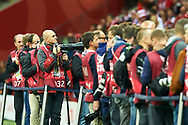 Warsaw, Poland - 2017 September 04: Photographer Piotr Blawicki works during soccer match Poland v Kazakhstan - FIFA 2018 World Cup Qualifier at PGE National Stadium on September 04, 2017 in Warsaw, Poland.<br /> <br /> Adam Nurkiewicz declares that he has no rights to the image of people at the photographs of his authorship.<br /> <br /> Picture also available in RAW (NEF) or TIFF format on special request.<br /> <br /> Any editorial, commercial or promotional use requires written permission from the author of image.<br /> <br /> Mandatory credit:<br /> Photo by © Adam Nurkiewicz / Mediasport