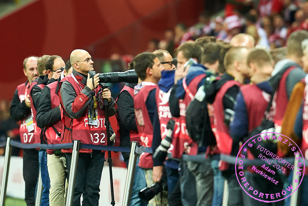 Warsaw, Poland - 2017 September 04: Photographer Piotr Blawicki works during soccer match Poland v Kazakhstan - FIFA 2018 World Cup Qualifier at PGE National Stadium on September 04, 2017 in Warsaw, Poland.<br /> <br /> Adam Nurkiewicz declares that he has no rights to the image of people at the photographs of his authorship.<br /> <br /> Picture also available in RAW (NEF) or TIFF format on special request.<br /> <br /> Any editorial, commercial or promotional use requires written permission from the author of image.<br /> <br /> Mandatory credit:<br /> Photo by &copy; Adam Nurkiewicz / Mediasport