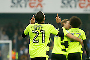 Huddersfield Town striker Nahki Wells (21) celebrates his goal (score 0 - 2) during the EFL Sky Bet Championship match between Queens Park Rangers and Huddersfield Town at the Loftus Road Stadium, London, England on 11 February 2017. Photo by Andy Walter.