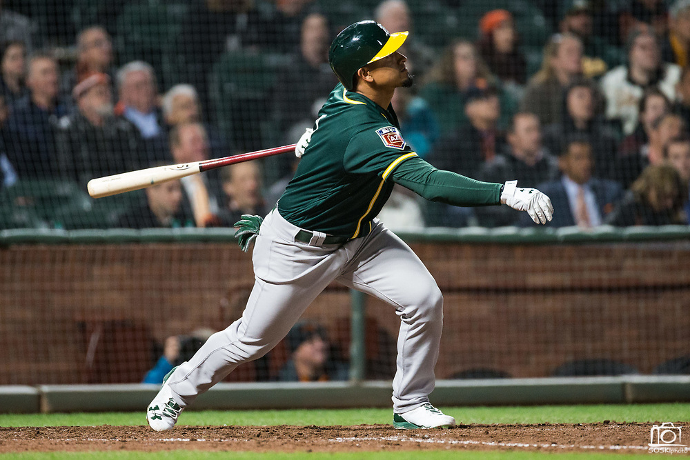 Oakland Athletics shortstop Franklin Barreto (1) bats against the San Francisco Giants at AT&T Park in San Francisco, California, on March 26, 2018. (Stan Olszewski/Special to S.F. Examiner)