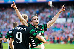Nicolai Jorgensen of Feyenoord, Robin van Persie of Feyenoord during the Dutch Toto KNVB Cup Final match between AZ Alkmaar and Feyenoord on April 22, 2018 at the Kuip stadium in Rotterdam, The Netherlands.