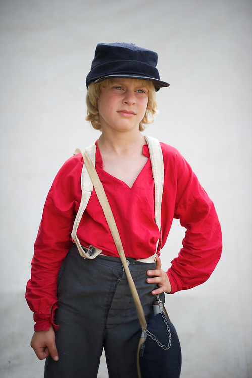 Kyle, 8, poses for a portrait on the third day of the 149th Gettysburg Reenactment is held in Gettysburg, Pennsylvania on July 8, 2012.