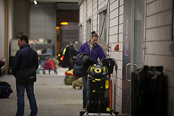 Vanessa Ruiter, groom of Edward Gal <br /> Departure of the horses to the World Cup Finals in Las Vegas from Schiphol - Amsterdam 2015.<br />  © Hippo Foto - Dirk Caremans