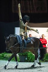 Erik Oese, (GER), Calvador 5, Andreas Babler - Individuals Men Freestyle Vaulting - Alltech FEI World Equestrian Games™ 2014 - Normandy, France.<br /> © Hippo Foto Team - Jon Stroud<br /> 03/09/2014