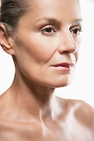 Middle-Aged Woman shiny skin