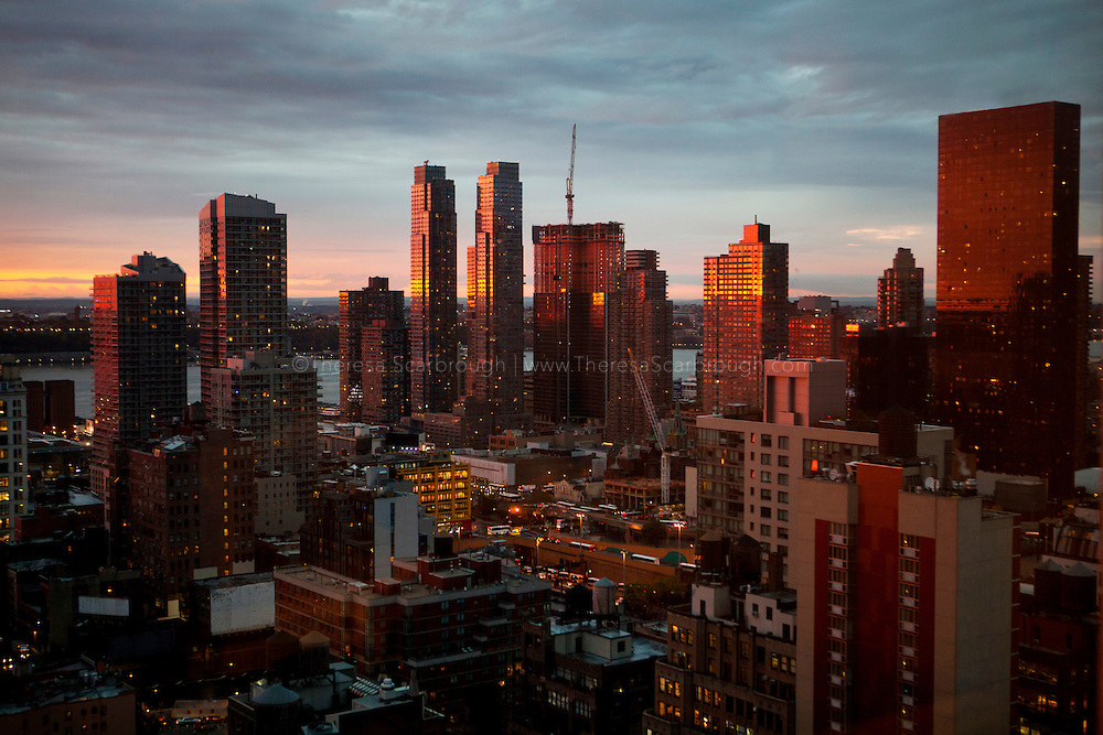 Partial view of the New York skyline at sunset
