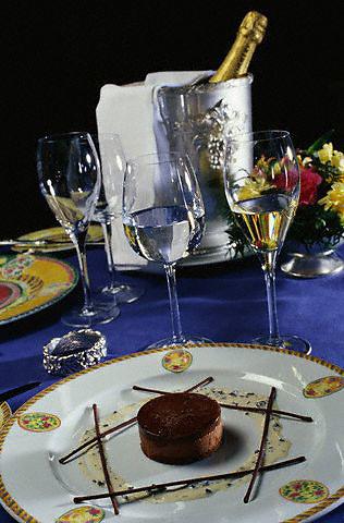 ca. 1990s, Reims, France --- Chocolate Truffle Dessert by Gerard Boyer --- Image by © Owen Franken/CORBIS - Photograph by Owen Franken