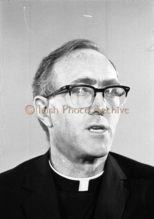 Archbishop Ryan Returns From Rome..1972..16.02.1972..02.16.1972..16th February 1972..After his official appointment as Archbishop of Dublin by Pope Paul VI, Dr Dermot Ryan returned to Dublin for his installation as Archbishop on Feb 22nd at the Pro Cathedral,Dublin..A portrait of Dr Dermot Ryan,newly appointed Archbishop of Dublin,taken at his press conference in Dublin Airport.