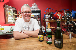 Simon Rutherford, at Rutherfords Micropub in Kelso. Pic with some of the beers.