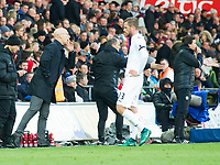 Football - 2016 / 2017 Premier League - Swansea City vs. Manchester United<br /> <br /> Swansea City manager Bob Bradley on the touchline speaks to Gylfi Sigurdsson of Swansea after his team concede a 3rd goal at the Liberty Stadium.<br /> <br /> COLORSPORT/WINSTON BYNORTH