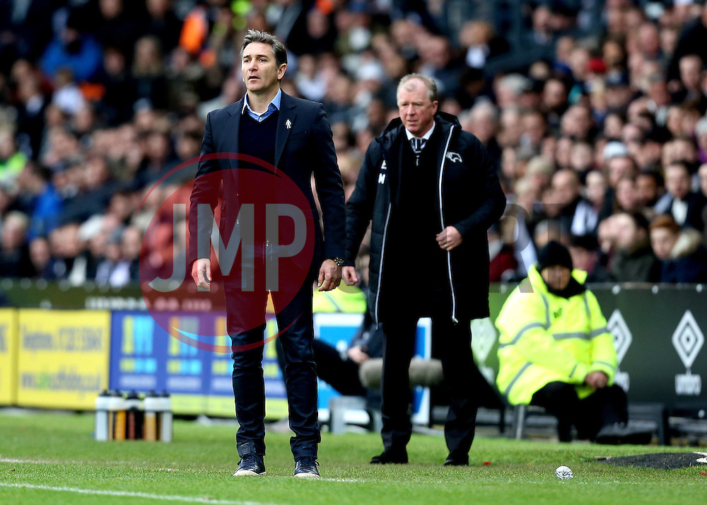 Nottingham Forest manager Philippe Montanier and Derby County manager Steve McClaren - Mandatory by-line: Robbie Stephenson/JMP - 11/12/2016 - FOOTBALL - iPro Stadium - Derby, England - Derby County v Nottingham Forest - Sky Bet Championship