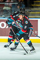 KELOWNA, CANADA - OCTOBER 4: Marek Skvrne #9 of the Kelowna Rockets passes the puck against the Victoria Royals on October 4, 2017 at Prospera Place in Kelowna, British Columbia, Canada.  (Photo by Marissa Baecker/Shoot the Breeze)  *** Local Caption ***