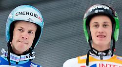 03.01.2016, Bergisel Schanze, Innsbruck, AUT, FIS Weltcup Ski Sprung, Vierschanzentournee, Bewerb, im Bild v.l.: Michael Hayboeck (AUT), Peter Prevc (SLO) // f.l.: Michael Hayboeck of Austria, Peter Prevc of Slovenia reacts after his Competition Jump of Four Hills Tournament of FIS Ski Jumping World Cup at the Bergisel Schanze, Innsbruck, Austria on 2016/01/03. EXPA Pictures © 2016, PhotoCredit: EXPA/ JFK