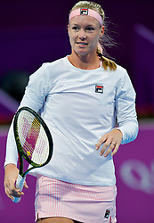 DOHA, Feb. 14, 2019  Kiki Bertens of the Netherlands reacts during the women's singles second round match between Kiki Bertens of the Netherlands and Carla Suarez Navarro of Spain at the 2019 WTA Qatar Open in Doha, Qatar, Feb. 13, 2019. Kiki Bertens won 2-1. (Credit Image: © Nikku/Xinhua via ZUMA Wire)