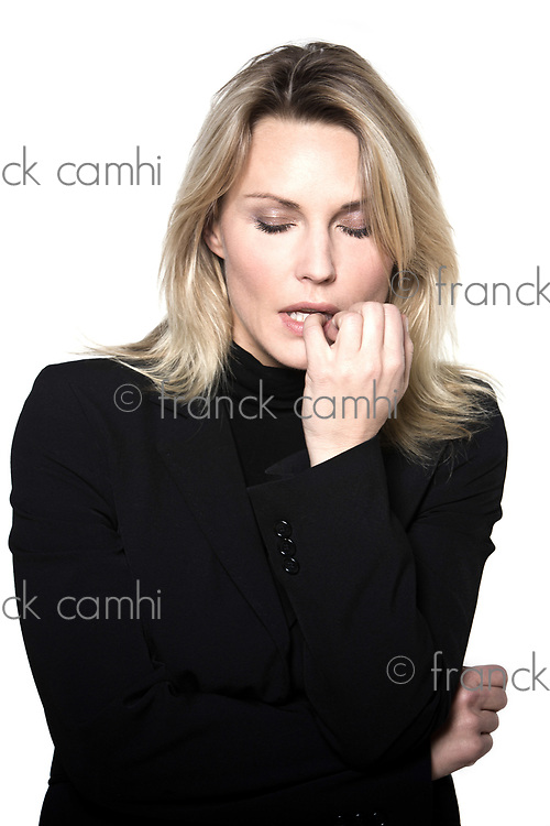 beautiful blond hair woman anxious sadness  portrait on studio white isolated background