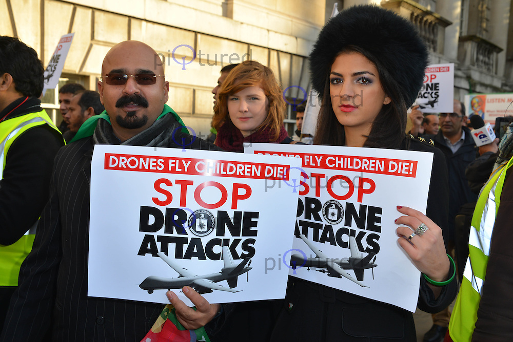 London Protest Against US Drone Attacks in Pakistan, Whitehall, London UK, 23 November 2013, Photo by See Li