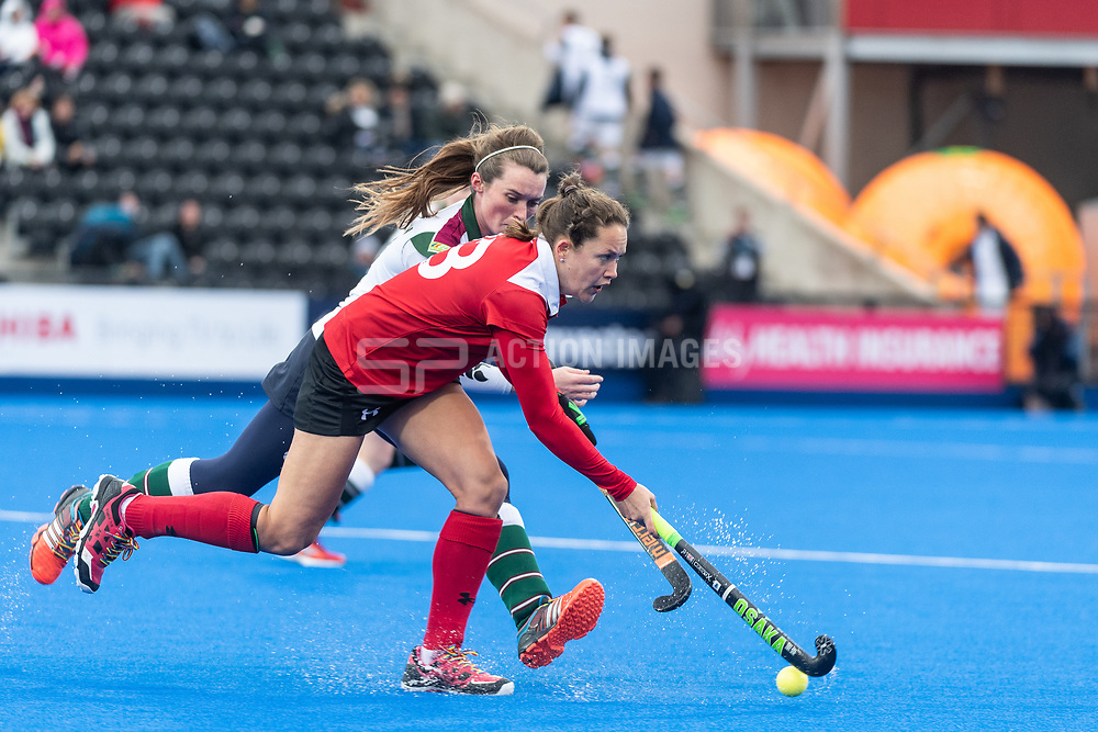 Holcombe's Eleanor Watton. Holcombe v Surbiton - Investec Women's Hockey League Final, Lee Valley Hockey & Tennis Centre, London, UK on 29 April 2018. Photo: Simon Parker
