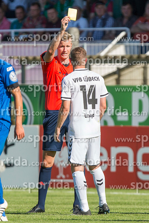 09.08.2015, Stadion Lohmühle, Luebeck, GER, DFB Pokal, VfB Luebeck vs SC Paderborn 07, 1. Runde, im Bild Nils Lange (Nr. 14, VfB Luebeck) bekommt eine gelbe Karte // during German DFB Pokal first round match between VfB Luebeck vs SC Paderborn 07 at the Stadion Lohmühle in Luebeck, Germany on 2015/08/09. EXPA Pictures © 2015, PhotoCredit: EXPA/ Eibner-Pressefoto/ KOENIG<br /> <br /> *****ATTENTION - OUT of GER*****