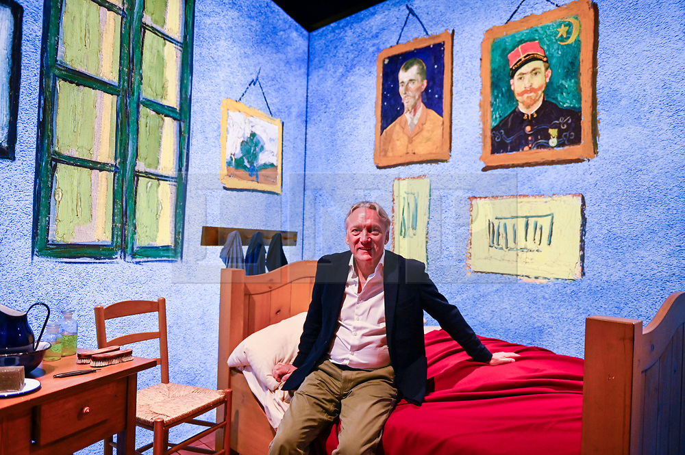 "© Licensed to London News Pictures. 06/02/2020. LONDON, UK. Willem van Gogh, great grand-nephew of Vincent van Gogh, and advisor to the board of the Van Gogh Museum poses for a photo at the preview of the ""Meet Vincent Van Gogh"" experience on the South Bank.  Created by the Van Gogh Museum in Amsterdam, the touring exhibition recreates Van Gogh's life in an interactive and multisensory experienc.  The show is open to the public 7 February to 21 May 2020.  Photo credit: Stephen Chung/LNP"