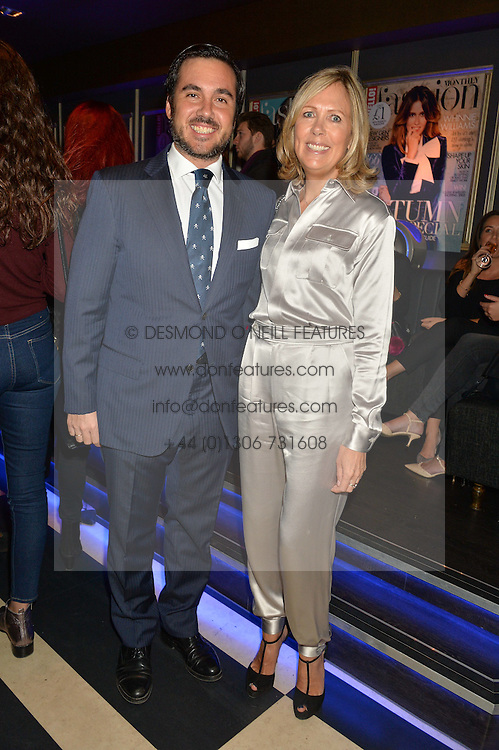 EDUARDO SANCHEZ and JULIET HERD at a party to celebrate the 1st anniversary of Hello! Fashion Monthly magazine held at Charlie, 15 Berkeley Street, London on 14th October 2015.