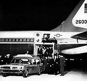 Aircraft carrying the body of John Fitzgerald Kennedy (May 29, 1917 – November 22, 1963), 35th President of the United States, serving from 1961 until his assassination in 1963.