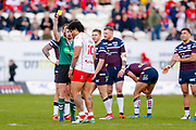 Hull Kingston Rovers prop Mose Masoe (10) receives a yellow card and is sinbinned during the Betfred Super League match between Hull Kingston Rovers and Leeds Rhinos at the Lightstream Stadium, Hull, United Kingdom on 29 April 2018. Picture by Simon Davies.