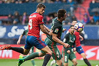 Oriol Riera of Club Atletico Osasuna and Emeric Laporte of Athletic Club during the match of  La Liga between Club Atletico Osasuna and Athletic Club Bilbao at El Sadar Stadium  in Pamplona, Spain. April 01, 2017. (ALTERPHOTOS / Rodrigo Jimenez)