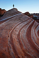 A hiker on the Fire Wave sandstone in the White Domes region of Valley of Fire State Park, Nevada.
