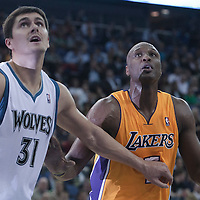 04 October 2010: Los Angeles Lakers Lamar Odom vies with Minnesota Timberwolves center Darko Milicic during the Minnesota Timberwolves 111-92 victory over the Los Angeles Lakers, during 2010 NBA Europe Live, at the O2 Arena in London, England.