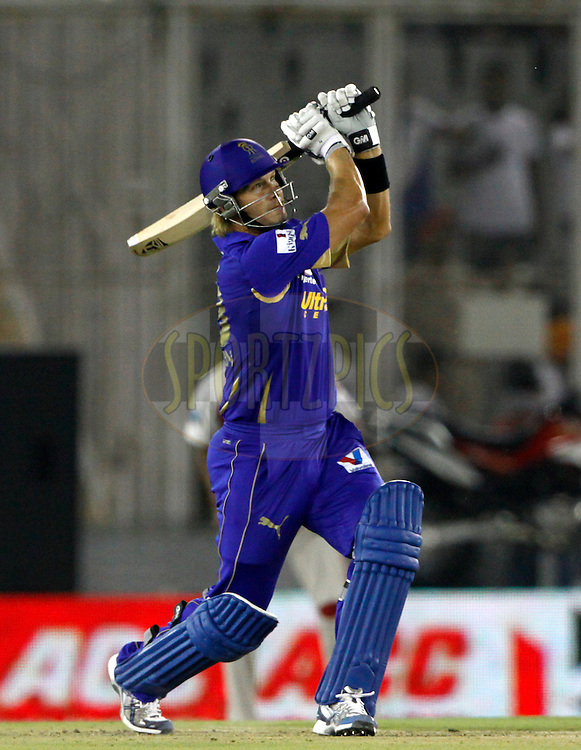 Rajasthan Royals player Shane Watson play a shot during match 48 of the the Indian Premier League ( IPL) 2012  between The Kings X1 Punjab and The Rajasthan Royals held at the Punjab Cricket Association Stadium, Mohali on the 5th May 2012..Photo by Pankaj Nangia/IPL/SPORTZPICS