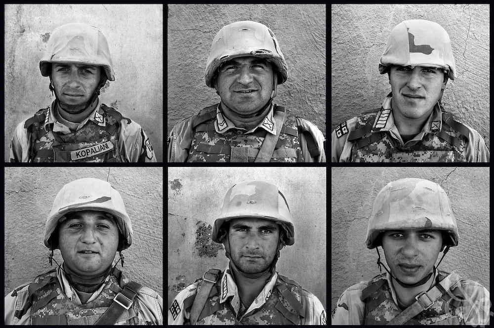 This series of portraits shows Georgian Army soldiers taken on October 1 and 3rd, 2007 at Camp Delta in al-Kut, Iraq. The force of about 2000 from the tiny former Soviet republic, are deployed in support of the American lead coalition in Iraq, provides base security and man checkpoints intended to intercept arms flowing in from nearby Iran.