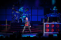 "Adam Levine, Matt Flynn (drums), Jesse Carmichael (R) of Maroon 5 perform at the Hollywood Bowl in support of ""Hands All Over"" on July 25, 2011 in Los Angeles, California."