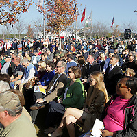 Adam Robison | BUY AT PHOTOS.DJOURNAL.COM<br /> A packed crowd gathers for the Veterans Day Ceremony at Veterans Park Wednesday morning in Tupelo.