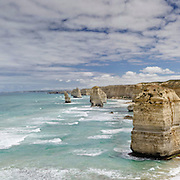 Panoramic. The Twelves Apostles, off the shore of Port Campbell National Park. The site, a collection of limestone stack, eroded, is a popular attraction along the Great Ocean Road.