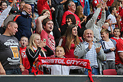 Bristol fans celebrate the late goal making it 1-1 during the EFL Sky Bet Championship match between Bristol City and Derby County at Ashton Gate, Bristol, England on 17 September 2016. Photo by Gary Learmonth.