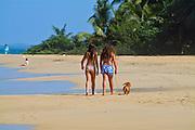 """Children Walking Dog on Leash, 'Balneario Luquillo' Puerto Rico caribbean beach, Puerto Rico """"Estado Libre Asociado de Puerto Rico"""", Caribbean, Island, Greater Antilles,"""