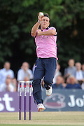 Kyle Abbott during the NatWest T20 Blast South Group match between Middlesex County Cricket Club and Somerset County Cricket Club at Uxbridge Cricket Ground, Uxbridge, United Kingdom on 26 June 2015. Photo by David Vokes.