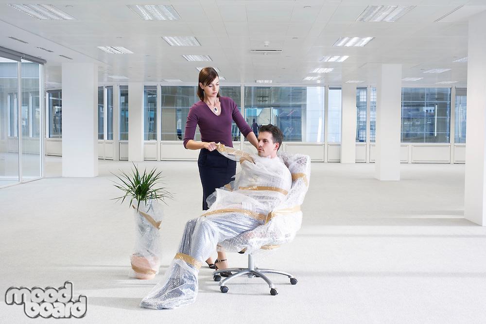 Secretary Wrapping Businessman