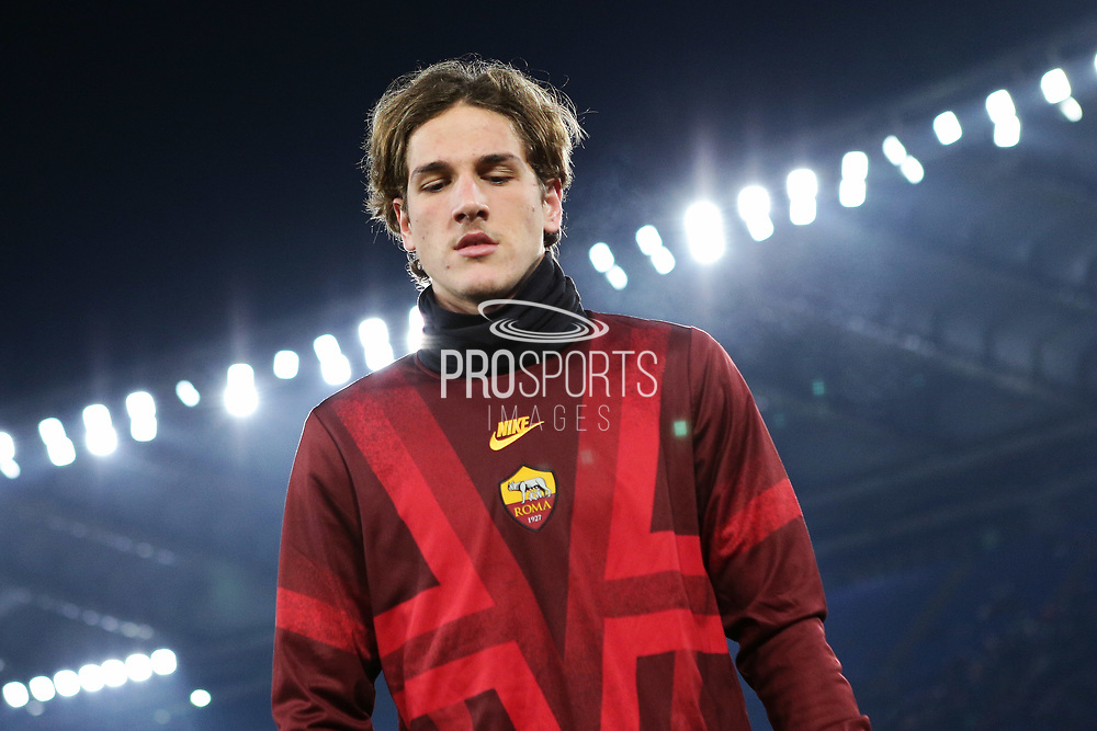 Nicolo' Zaniolo of Roma at the end of the warm up before the UEFA Europa League, Group J football match between AS Roma and Wolfsberg AC on December 12, 2019 at Stadio Olimpico in Rome, Italy - Photo Federico Proietti / ProSportsImages / DPPI