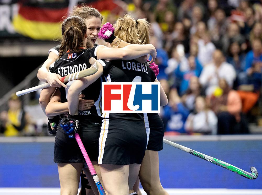 BERLIN - Indoor Hockey World Cup<br /> Quarterfinal 3: Germany - Poland<br /> foto: Germany celebrate.<br /> WORLDSPORTPICS COPYRIGHT FRANK UIJLENBROEK