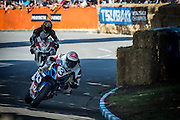 Sloan Frost  from Wellington leads Jayden Carrick from Wanganui through the Esses in the Robert Holden Memorial Race at the Cemetery Circuit Road Races, Wanganui, Boxing Day which was the 3rd and final round of the 2014 Suzuki Series