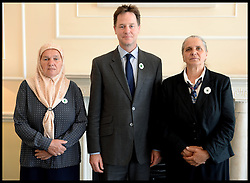 Image ©Licensed to i-Images Picture Agency. 09/07/2014. London, United Kingdom. The Deputy Prime Minister Nick Clegg meets the mothers of Srebrenica for talks during Remembering Srebrenica week. Picture by Andrew Parsons / i-Images