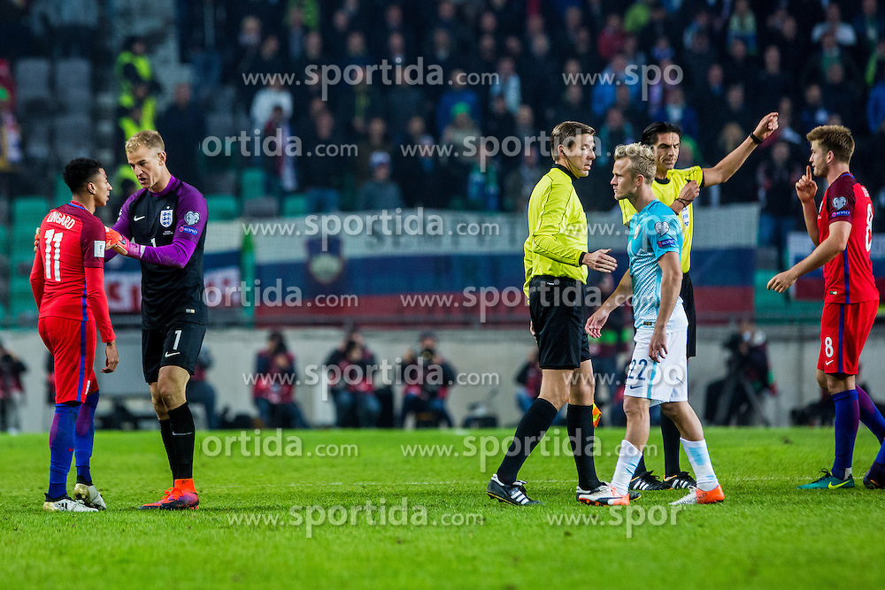Nik Omladic of Slovenia and Jesse Lingard of England with Joe Hart of England during football match between National teams of Slovenia and England in Round #3 of FIFA World Cup Russia 2018 qualifications in Group F, on October 11, 2016 in SRC Stozice, Ljubljana, Slovenia. Photo by Grega Valancic / Sportida
