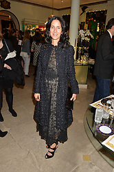 ALISON ROSS-GREEN at the London debut of Nest - an organisation to promote peace and prosperity in partnership with artisans worldwide, held at Thomas Goode & Co, South Audley Street, London on 4th November 2014.