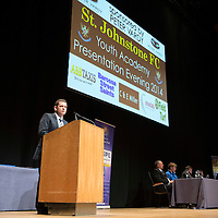 St Johnstone FC Youth Academy Presentation Night at Perth Concert Hall..21.04.14<br /> Chairman Steve Brown addresses the audience<br /> Picture by Graeme Hart.<br /> Copyright Perthshire Picture Agency<br /> Tel: 01738 623350  Mobile: 07990 594431