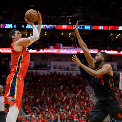Apr 19, 2018; New Orleans, LA, USA; New Orleans Pelicans forward Nikola Mirotic (3) shoots over Portland Trail Blazers forward Maurice Harkless (4) during the second quarter in game three of the first round of the 2018 NBA Playoffs at the Smoothie King Center. Mandatory Credit: Derick E. Hingle-USA TODAY Sports
