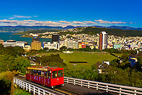 The Kelburn cable car with the skyline of Wellington, the capital of New Zealand behind.
