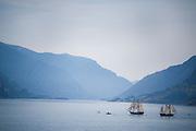 Boats simulate a Pirate battle in the Columbia River near Hood River, Oregon and White Salmon, Washington.