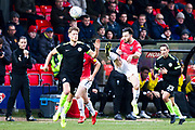 Salford City midfielder Richie Towell has a bicycle kick to clear the area during the EFL Sky Bet League 2 match between Salford City and Macclesfield Town at the Peninsula Stadium, Salford, United Kingdom on 23 November 2019.
